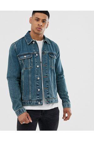 ASOS Regular denim jacket in mid wash-Blue