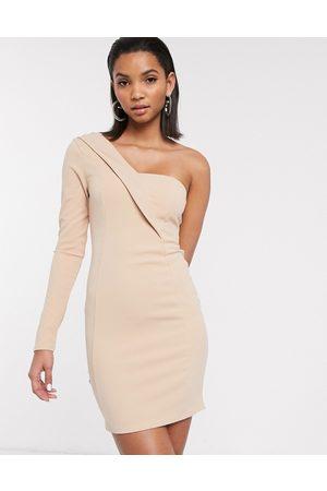 ASOS One shoulder tux mini dress-Cream