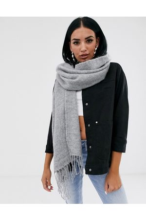 ASOS Supersoft long woven scarf with tassels in grey