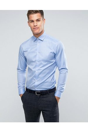 Selected Slim fit easy iron smart shirt in light blue