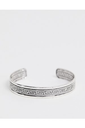 ASOS Bangle with column emboss in burnished silver tone