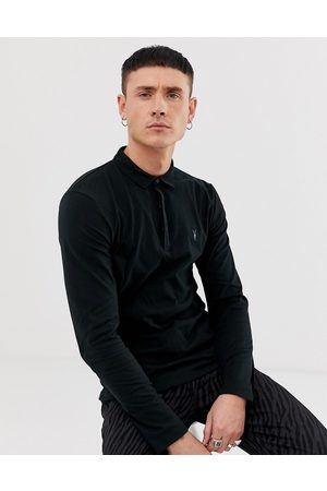 AllSaints Brace long sleeve ramskull logo polo shirt in black