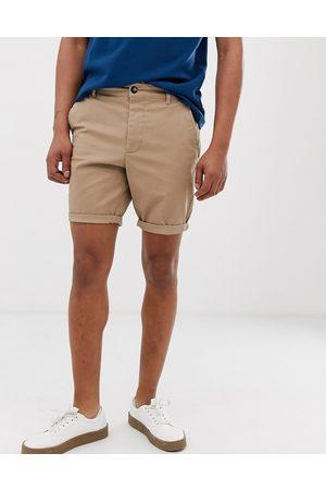 ASOS Skinny chino shorts in stone