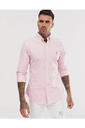 Polo Ralph Lauren Player logo slim fit oxford shirt button-down in pink