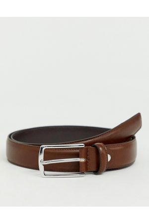 Jack & Jones Premium leather belt in brown-Black