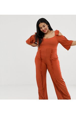 Lost Ink Plus Cold Shoulder Jumpsuit With Frill Leg Detail In Textured Fabric-Orange