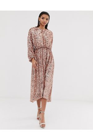 ASOS Open back waisted midi dress in sequin-Silver