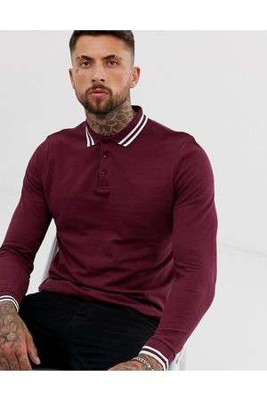ASOS Long sleeve tipped pique polo shirt in burgundy-Red