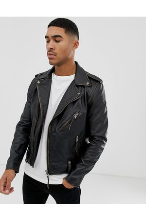 Bolongaro Trevor Biker leather jacket in antique finish-Black