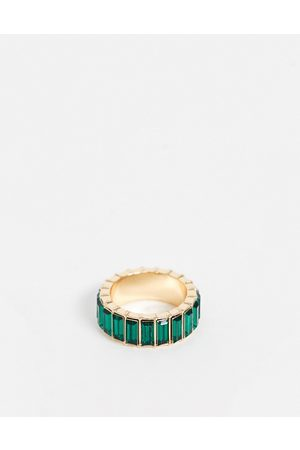 ASOS Ring with green baguette crystal stones in gold tone