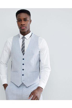 Farah Farah Skinny Wedding Suit Waistcoat In Cross Hatch-Blue