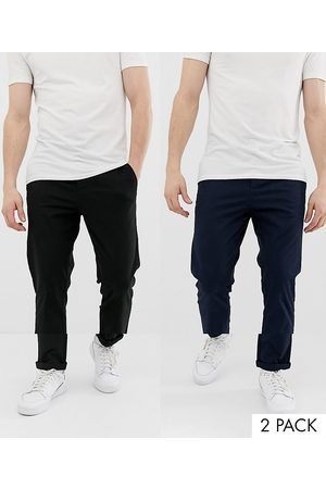 ASOS 2 pack slim chinos in black & navy save-Multi