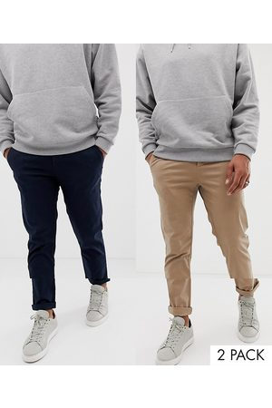 ASOS 2 pack slim chinos in navy & stone save-Multi