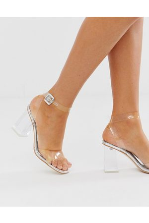 SIMMI Shoes Simmi London Kehlani silver clear flared heel sandals