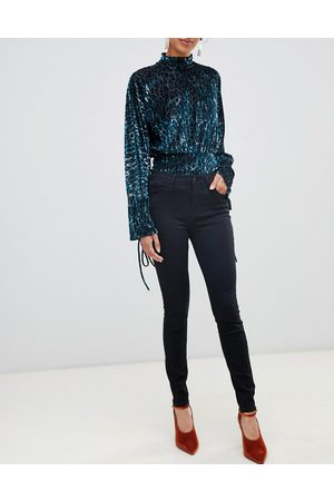 River Island Amelie mid rise skinny jeans in black