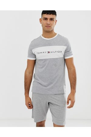 Tommy Hilfiger Crew neck lounge t-shirt with contrast chest panel and logo in grey