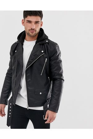 River Island Faux leather biker jacket with hood in black