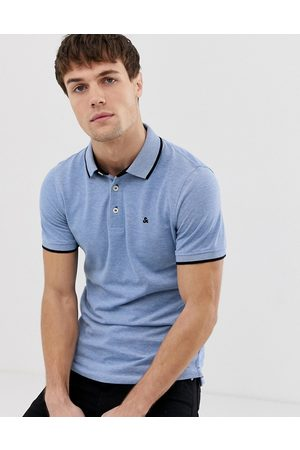Jack & Jones Essentials slim fit tipped pique logo polo in blue