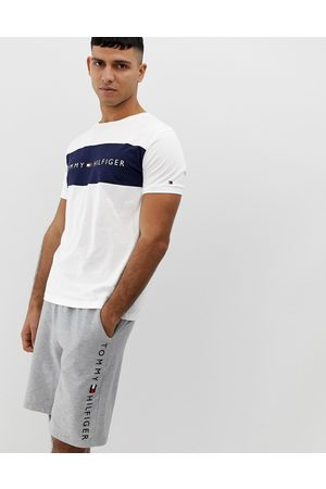 Tommy Hilfiger Crew neck lounge t-shirt with contrast chest panel and logo in white