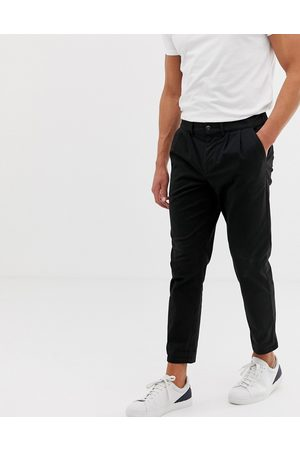 ASOS Cigarette chinos with pleats in black