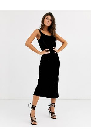 ASOS Velvet scoop neck midi slip dress-Black