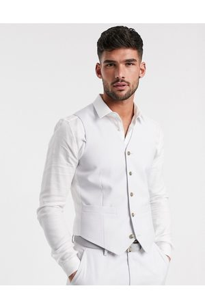 ASOS Wedding slim suit waistcoat in light grey