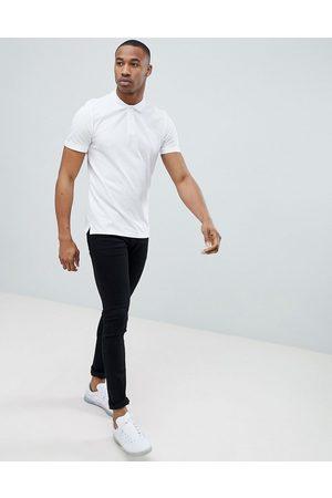 Jack & Jones Essentials slim fit pique logo polo in white