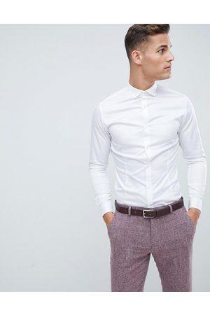 Jack & Jones Premium super slim fit stretch smart shirt in white