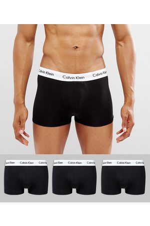 Calvin Klein Low rise trunks 3 pack in cotton stretch-Black