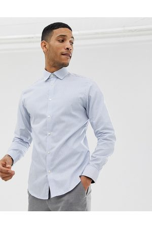 Selected Slim fit striped easy iron smart shirt in light blue