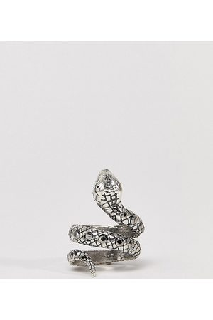 Reclaimed Vintage Homem Anéis - Inspired ring with snake design and stones in silver exclusive at ASOS