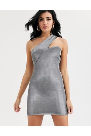 ASOS Asymmetric metallic one shoulder mini dress-Silver