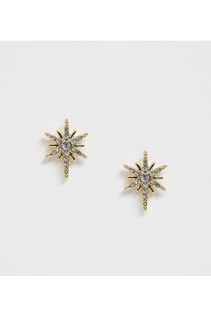 Pieces Diamante star stud earrings-Gold