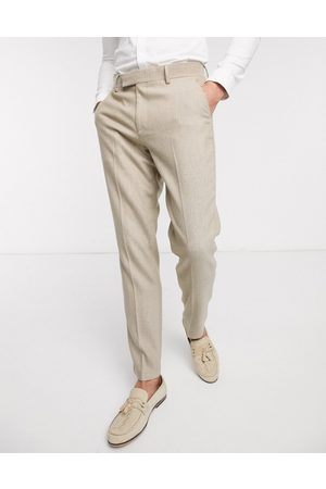ASOS Wedding slim suit trousers in wool mix herringbone in camel-Beige