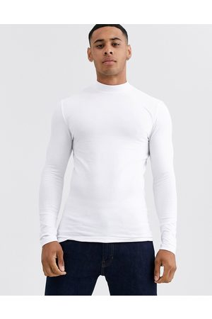 ASOS Muscle fit long sleeve jersey turtle neck in white