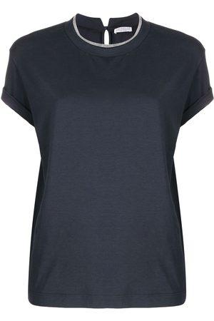 Brunello Cucinelli Senhora T-shirts - Brass-embellished crew-neck T-shirt