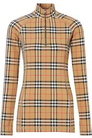 Burberry Check turtleneck zip top