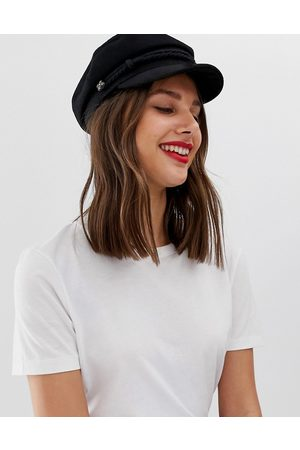 ASOS High crown wool baker boy hat-Black
