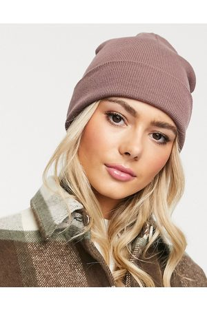 ASOS Turn up beanie hat in recycled polyester in pink
