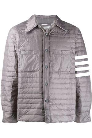 Thom Browne Fine Quilt Down Fill 4 Bar Shirt Jacket In Matte Finish Nylon