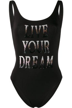 Alberta Ferretti Live Your Dream slogan swimsuit