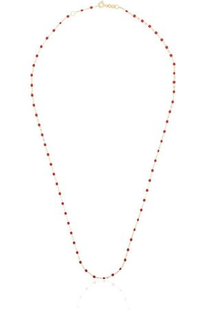 GIGI CLOZEAU 18kt yellow gold red beaded necklace