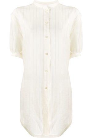 Saint Laurent Metallic pinstriped buttoned blouse