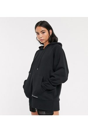 COLLUSION Oversized black hoodie with brand print-Grey