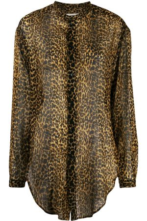 Saint Laurent Leopard-print wool shirt