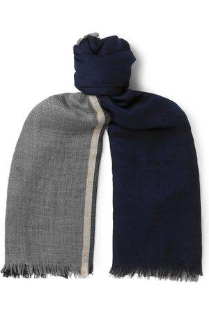 Brunello Cucinelli Homem Cachecóis & Echarpes - Fringed Striped Cashmere And Silk-blend Scarf