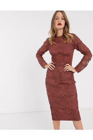 ASOS Corset waist lace midi dress-Purple
