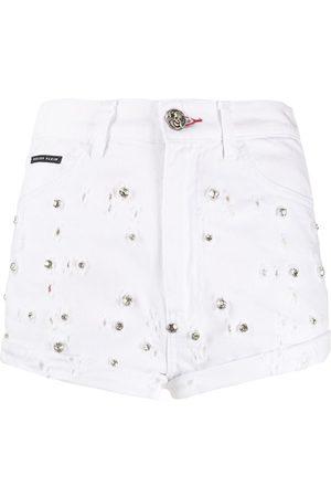 Philipp Plein High-rise crystal-embellished shorts
