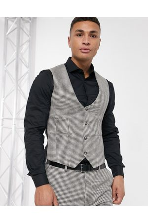 ASOS Wedding super skinny suit waistcoat in grey wool blend micro houndstooth