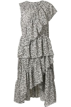 GOEN.J Floral print asymmetric ruffled dress